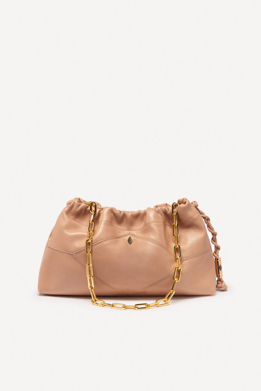 SAC CLUTCH FROISSEE CUIR NAPPA CLUTCH BAGS NUDE
