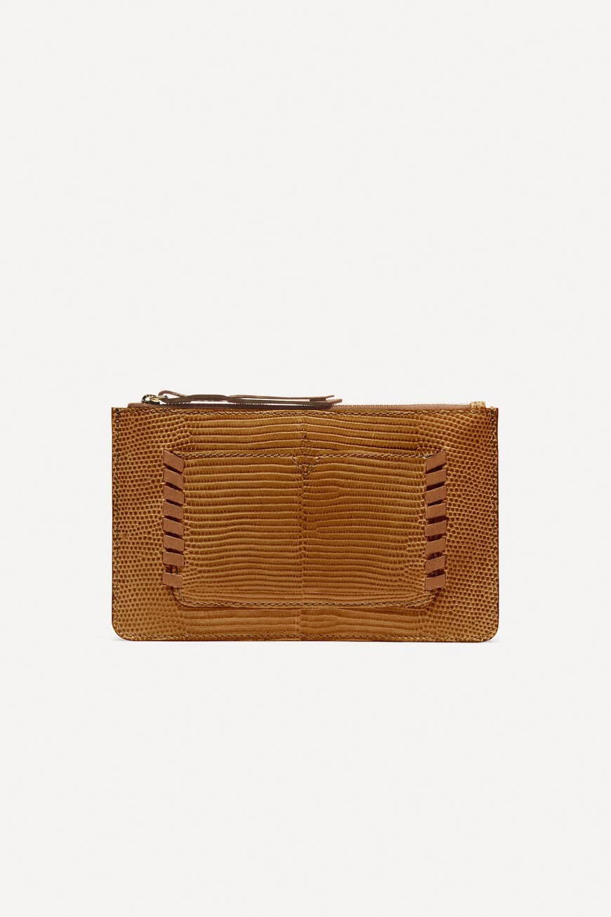 CLUTCH TEDDY small leather goods OCRE