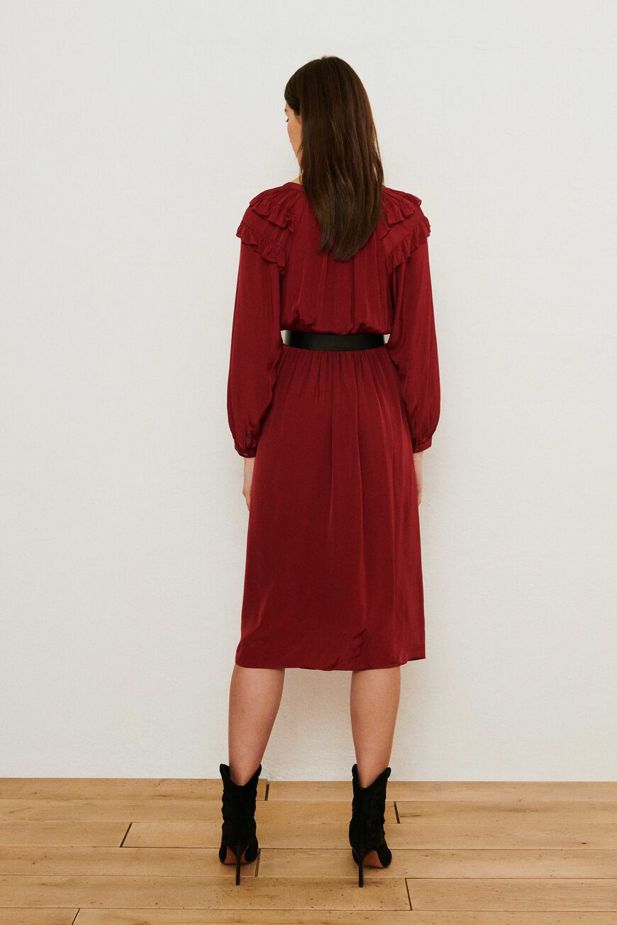 ROBE ULLA ROBES MIDI BORDEAUX