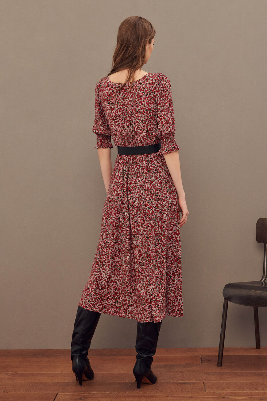 ROBE CELSA ROBES MIDI CARMIN