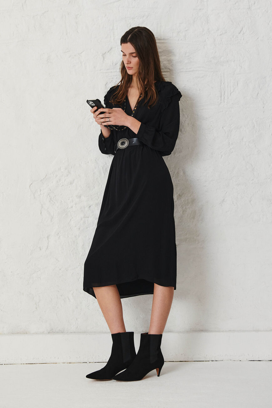 ROBE ULLA ROBES MIDI NOIR