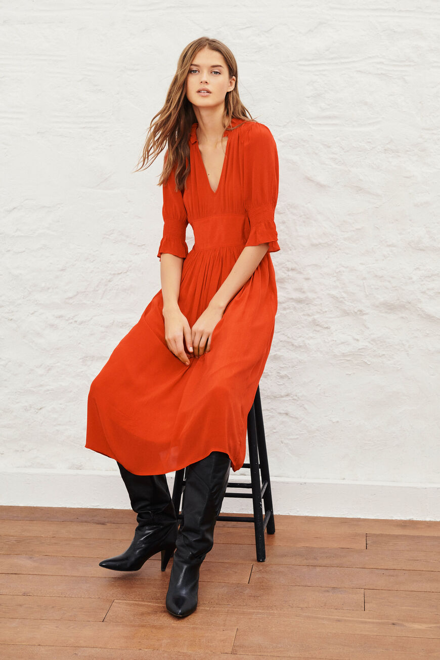 DRESS POSITA MIDI DRESSES ROUGE